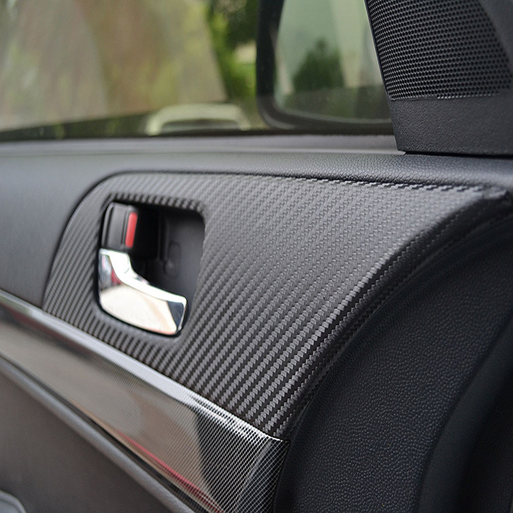 8 Pcs/Set For MITSUBISHI Lancer EX Carbon Fiber Car Door Armrest Handle Protection Car Stickers 8pcs Per Set Auto Accessories Ca