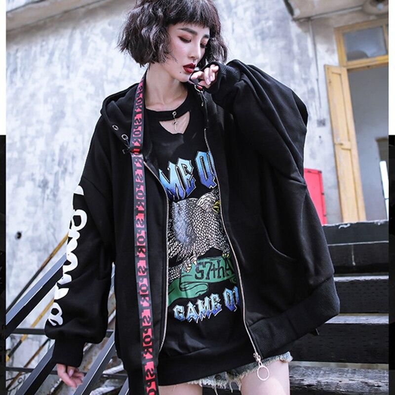 Femme Vestes Oversize Survêtement Manches Longues Lettre Z148 Street Automne Dames Black Imprimer Style À Capuchon Lâche Noir Harajuku Pardessus WcqFwRa4