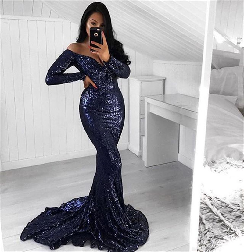 Elegant Off Shoulder Sequin Mermaid   Prom     Dresses   Long Sleeve Navy Blue Evening Party Gowns Women Special Occasion Formal   Dress