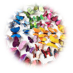 72pc/Set 3D Butterflies Wall Stickers Home Decoration Art Wall Decals For Kids Room Wall Sticker Fridge Adhesions Vinyl Paper