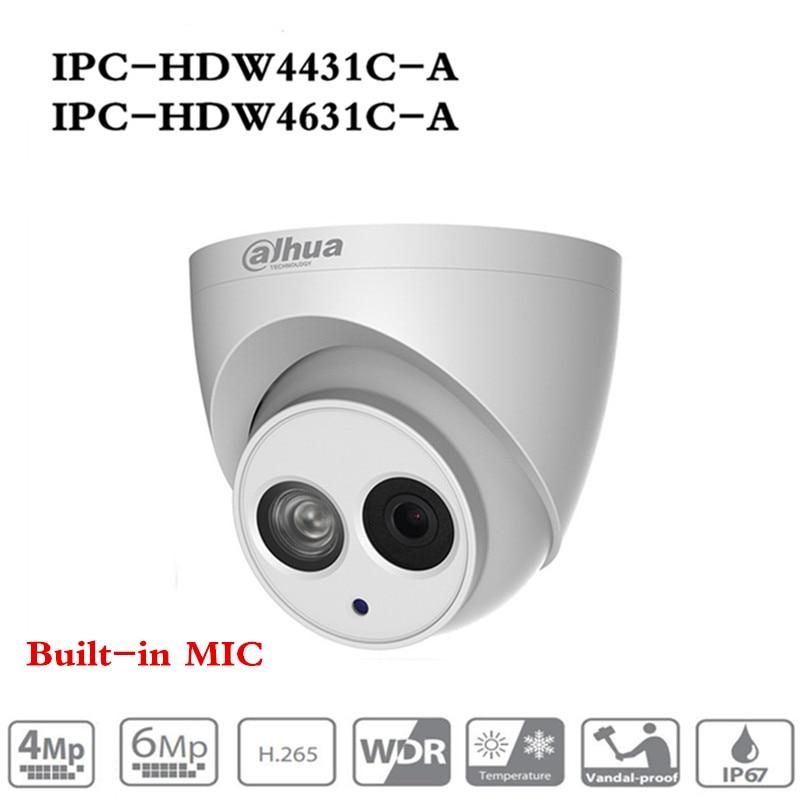 ahua POE IP Camera IPC-HDW4433C-A IPC-HDW4631C-A POE 4MP 6MP Network IP Camera Built-in MIC 30M IR Night Vision WDR Onvif 2.4 dahua 6mp ip camera ipc hdw4631c a poe network camera with built in micro upgrade model of 4mp camera ipc hdw4431c a