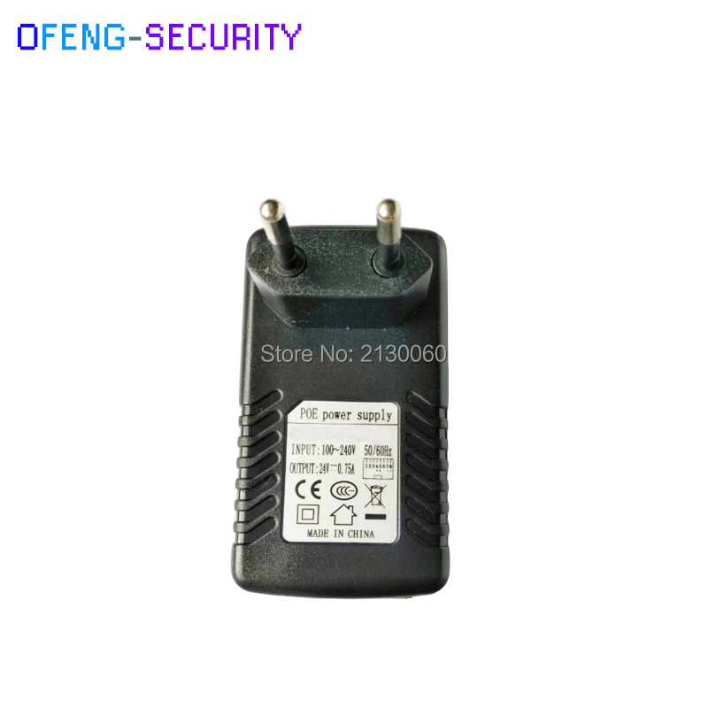 POE Injector POE Power Supply 24V0.75A Input 100-240V 50/60Hz Output 24V0.75A POE Pin4/5(+),7/8(-) For CCTV IPC