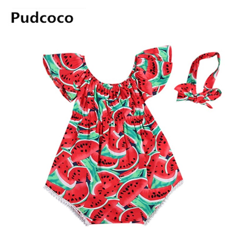 Infant Newborn Baby Girls Watermelon Print Lace Sleeveless Romper Headband 2PCS Clothes Kids Playsuit Jumpsuit Outfit Sunsuit fashion 2pcs set newborn baby girls jumpsuit toddler girls flower pattern outfit clothes romper bodysuit pants