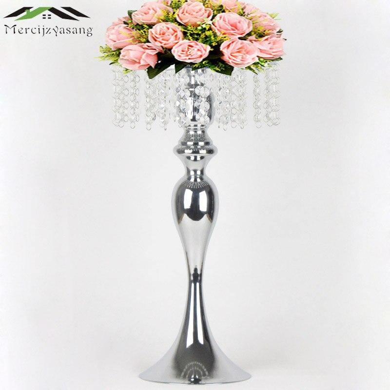 Silver Tabletop Vase Metal Flower Vase 50cm20 Table Centerpiece