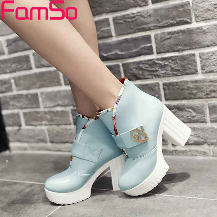Free shipping 2016 New Winter Snow Boots Autumn High Thick Heels Pumps Platforms Boots Female Dress
