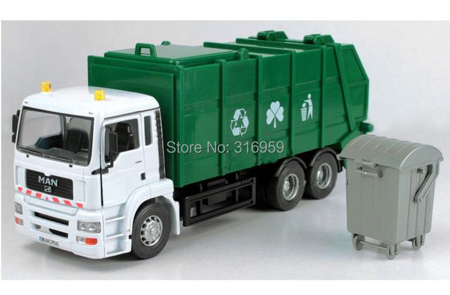 Nuevo modelo del coche del vehículo de saneamiento escala 1:32 ABS Aleación diecast un cubo de la basura de las puertas se pueden abrir Modelo de coche decoración juguete