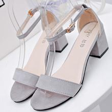 Sandals Women 2018 Summer new style with shallow mouth high heel thick bottom toe suede sexy buckle solid color female sandals vintage women s sandals with solid color and chunky heel design