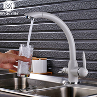 Deck Mounted White 3 Way Purification Kitchen Faucet Dual Water Outlet Filter Mixer Tap For Kitchen