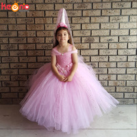 Pink Flower Girls Tutu Dress Glittery V shaped Junior Wedding Bridesmaid Dress Kids Princess Party Pageant Dresses 2 10Y
