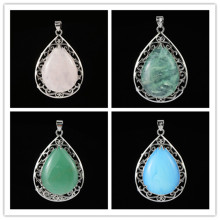 Kraft-beads Elegant Style Silver Plated Rose Pink Quartz Water Drop Pendant Fluorite Stone Jewelry