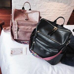 Image 4 - Retro Large Backpack Women PU Leather Rucksack Womens Knapsack Travel Backpacks Shoulder School Bags Mochila Back Pack XA96H