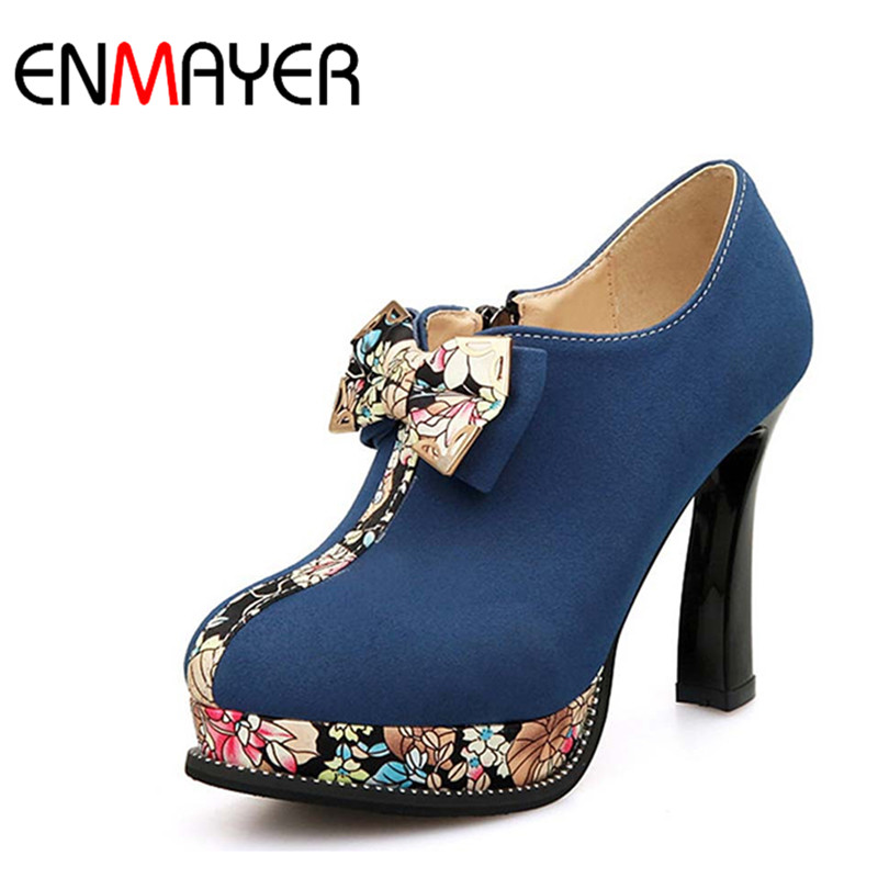 ФОТО ENMAYER Retro Print Spring Autumn Boots Bowtie Round Toe High Ankle Boots for Women Shoes Flock Platform Boots Green Blue Color