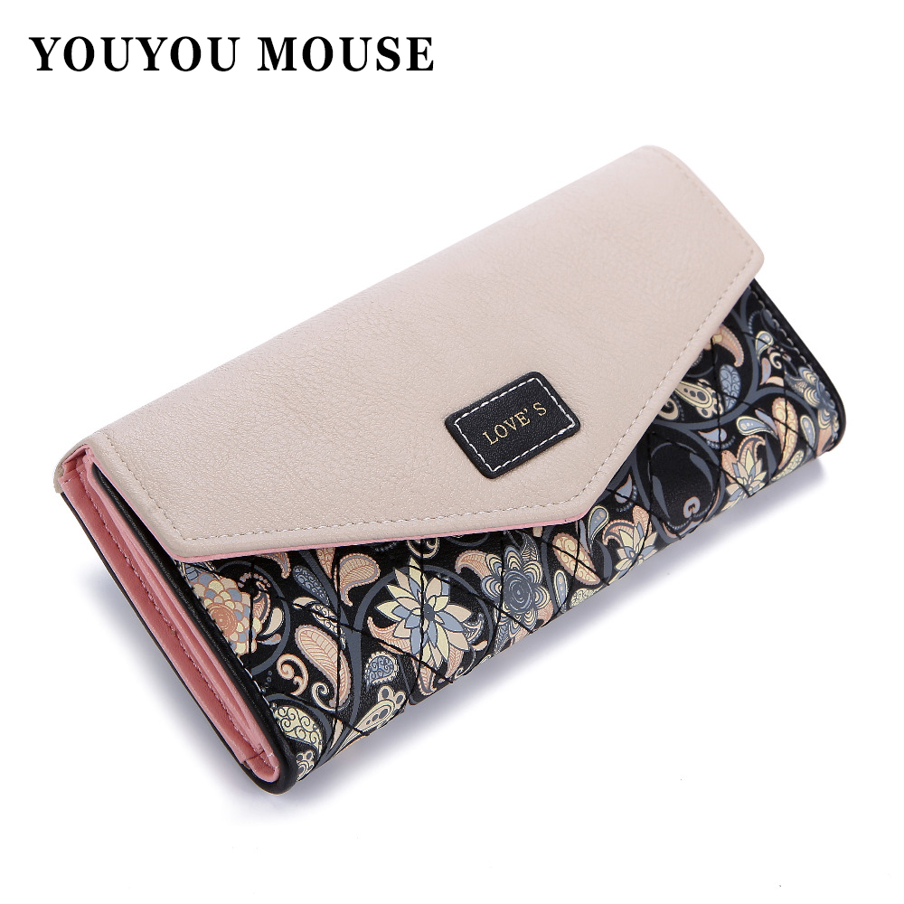 YOUYOU MOUSE Envelope Women Wallet Hit Color 3Fold Flowers Printing 5Colors PU Leather Wallet Long Ladies Clutch Coin Purse youyou mouse korean style women wallet pu leather 2 fold phone package wallet multi function lovely big eyes pattern wallet