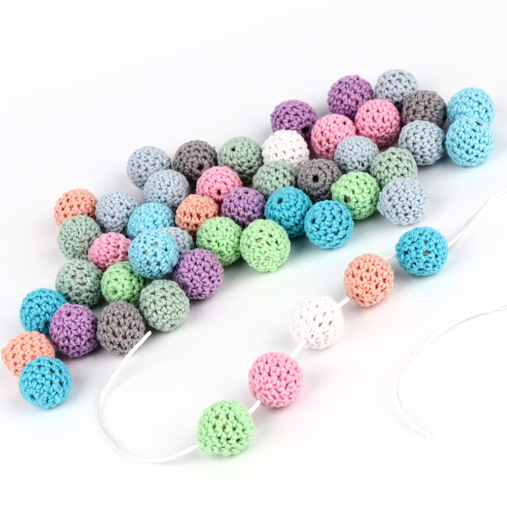10PCS Wooden Chewable Beads 16mm Baby Teether Toys  DIY Craft Jewelry Accessories Crochet Baby Teether