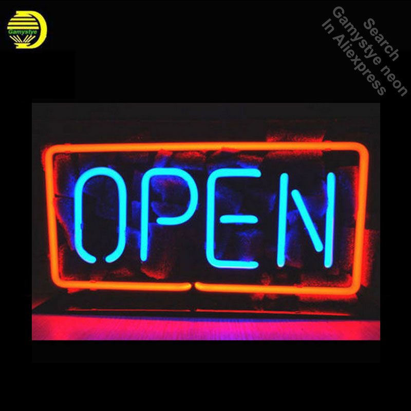 OPEN Neon Sign Glass Tube Cool Neon Bulbs Sign Beer Pub Sign lighted With clear Board Lamp Art Light vintage Handcraft for sale led024 b open cocktail led neon light sign whiteboard wholesale dropshipping