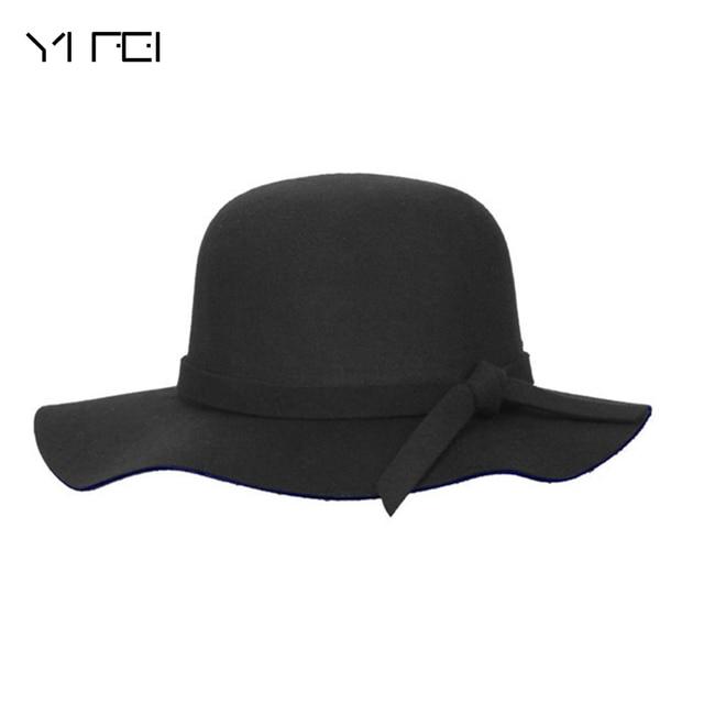 7d41ea9bac6 New Pillbox Hat Children s Wide Brim Felt Bowler Fedora Hat Floppy Sun  Bowknot Cloche Cap Women