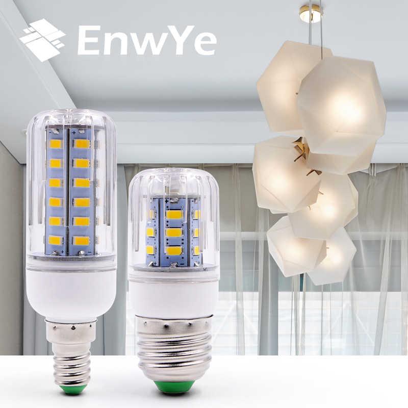 EnwYe E27 E14 LED مصباح الذرة الطاقة الحقيقية 2 واط 4 واط 6 واط 9 واط 12 واط 220 فولت 240 فولت لمبة ذرة شمعة الثريا مصباح ليد للديكور المنزل