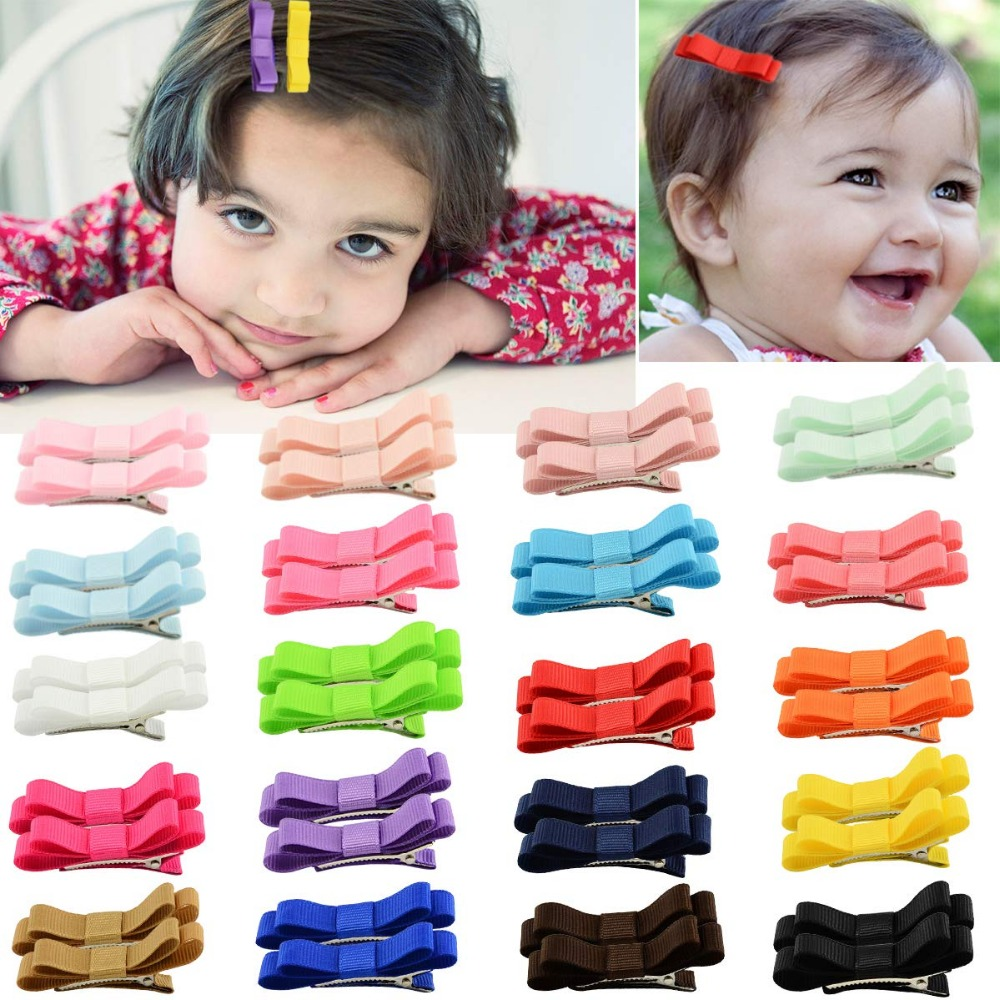 40PCS 2Inch Grosgrain Ribbon Tiny Hair Bow Alligator Hair Clips Fully Lined Pigtail Hair Bows For Baby Girls Toddlers Kids