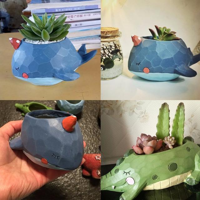 1pcs Natural Resin Cute Animal Design Plant Landscape Flower Pot Planter Garden Decor