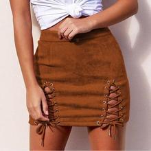 Yiwa Women Suede Binding Sexy Buttock High Waist Skirt Lace-up Skirt Women's High Waist Skirt Zipper Split Preppy Short Skirts
