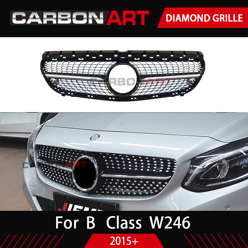 <font><b>W246</b></font> Diamond Grille Black Silver For <font><b>Mercedes</b></font> Benz B Class <font><b>W246</b></font> Front Bumper Racing Grill 2015-2018 B180 <font><b>B200</b></font> B250 B220 GRILL image