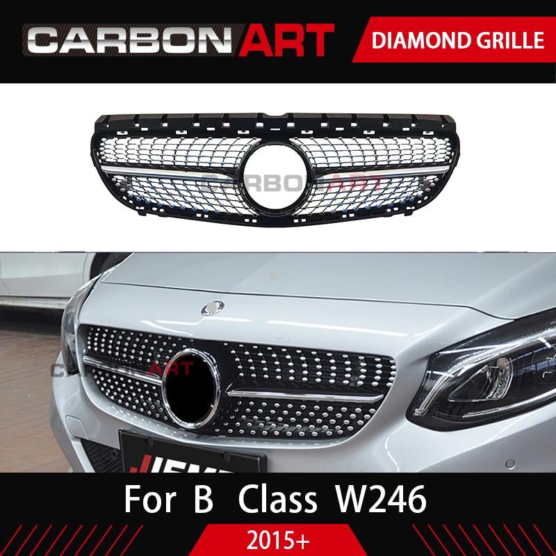 W246 Diamond Grille Black Silver For Mercedes Benz B Class W246 Front Bumper Racing Grill 2015 2018 B180 B200 B250 B220 GRILL