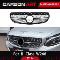 W246 Diamond Grille Black Silver For Mercedes Benz B Class W246 Front Bumper Racing Grill 2015 2018 B180 B200 B250 B220 GRILL