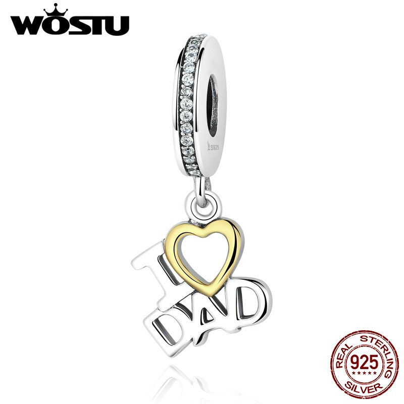 Real 925 Sterling Pure Silver I LOVE DAD Dangle Charm Beads Fit Original wst Bracelet Authentic Jewelry Father Daddy Gift CQC052 цена