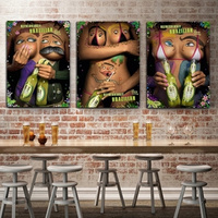 Human Body Creative Funny Canvas Poster with Frame Home DIY Design Wall Hanging Pictures Painting for Bar KTV Restaurant Decor