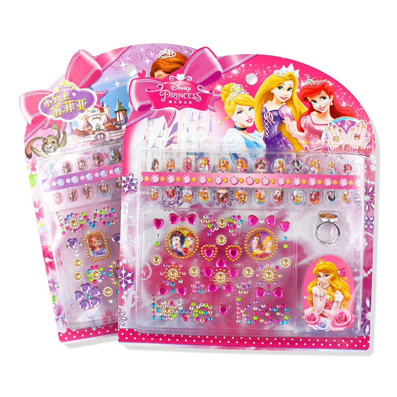 Disney Authentic Children's Three-dimensional Nail Stickers Frozen Princess Gift Box Stickers Girl Ring Boxed Paste