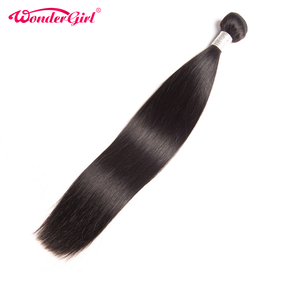Wonder Girl Hair Extension Peruvian Straight Human Hair Bundles 100% Remy Hair Weaving Kan Kjøp 3/4 Bundler Kan Farves