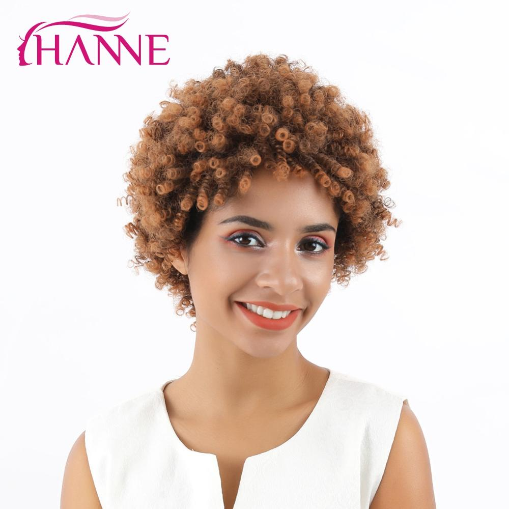 HANNE Short Synthetic Wigs Afro Kinky Brown Natural Wig For Women Cosplay African Hairstyles High Temperature Fibers Wig