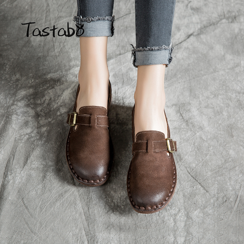 Tastabo Handmade leather women s shoes Solid color flats Simple buckle inlay Wild fashion women s