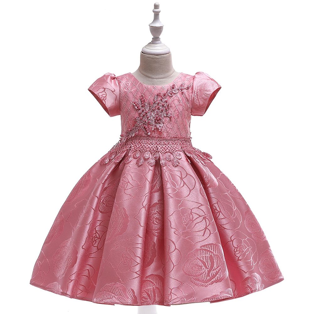 Short Sleeves Ballgown  Satin Ball Gown Pageant Dress Flower Girl Dresses For Weddings Little Kid Evening Party Gowns