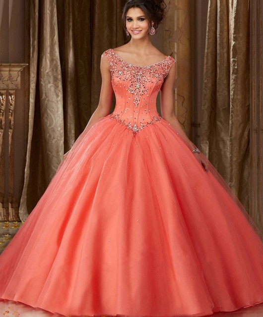 f0c5620fe wejanedress Turquoise Crystal Quinceanera Dress Lace Up Ball Gown Prom  Dress Crystal Beading Coral Quinceanera Dresses