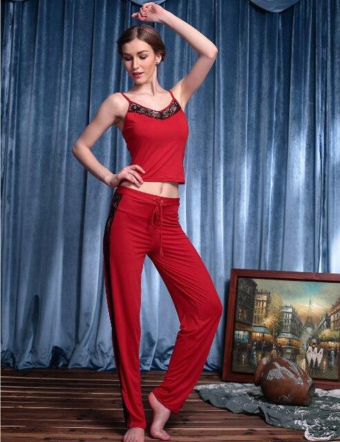 Женская Пижамы Установить Лето Рукавов Пижамы Сна Пижамы Наборы Топы + Брюки Ночной Рубашке 2 шт.