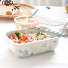 Ceramics Eat Cassette Tape Cover Fresh Seal Lunch Box Microwave Oven Heating Special-purpose Separate Mesh Division Bowl Lovely(China)