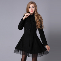 PADEGAO Black Big Swing Women Jacket Turn Down Collar Double Breasted Woolen Overcoat Blue Detachable Gauze