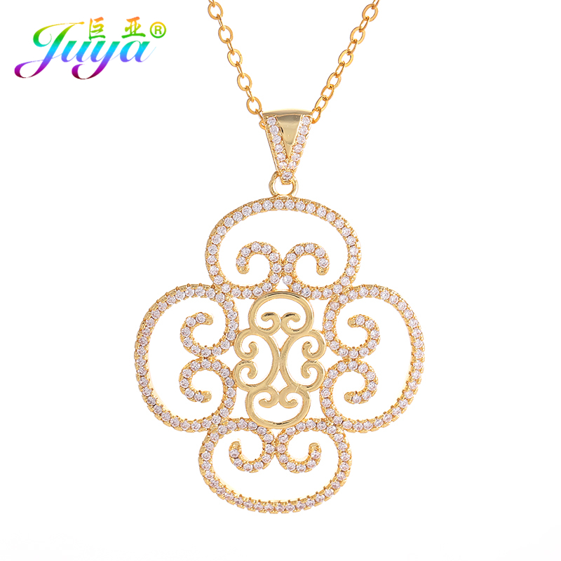 Austrian Crystal Hollow Chinese Knot Charms Necklaces18K Gold Micro Pave Filled Zircon Flower Necklace Fine Jewelry For Women