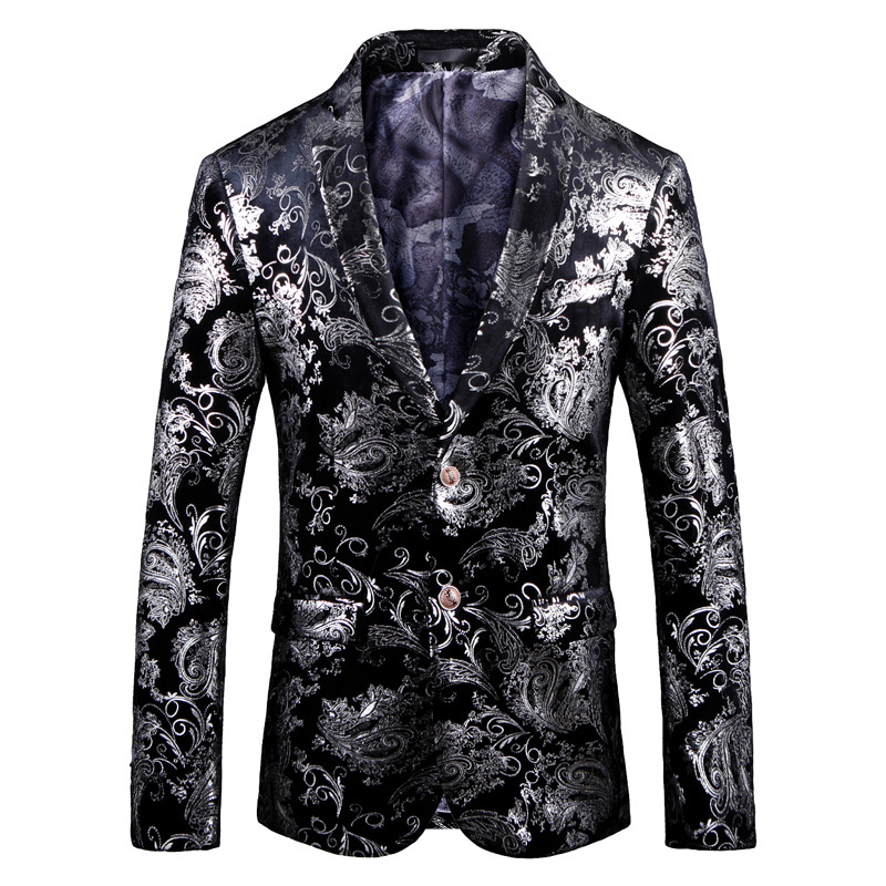 2019 British Style Silver Floral Blazer Jacket Mens Streetwear Men Blazer Fashion Blazer Men Night Club Prom Tuxedo Formal Wear