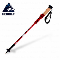 Hewolf Climbing Alpenstocks Outdoor Walking Stick Folding Ultralight Cane Anti Shock Anti Skid Straight Handle Climbing Hiking