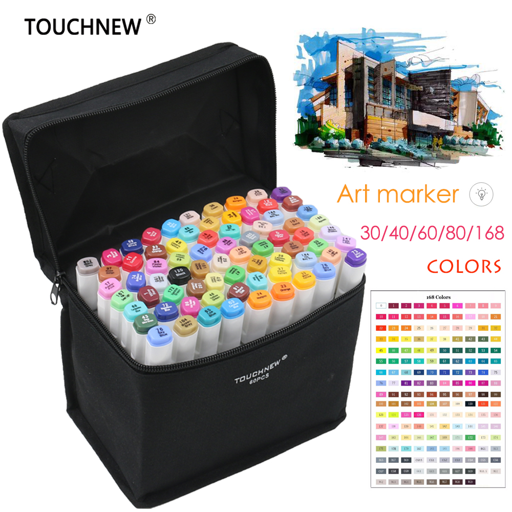TOUCHNEW 30/40/60/80/168 Colors Artist Dual Headed Marker Set Manga Design School Drawing Sketch Markers Pen Art Supplies bianyo 30 40 60 80 colors set artist dual head oil sketch copic markers set for school drawing sketch marker pen design supplies