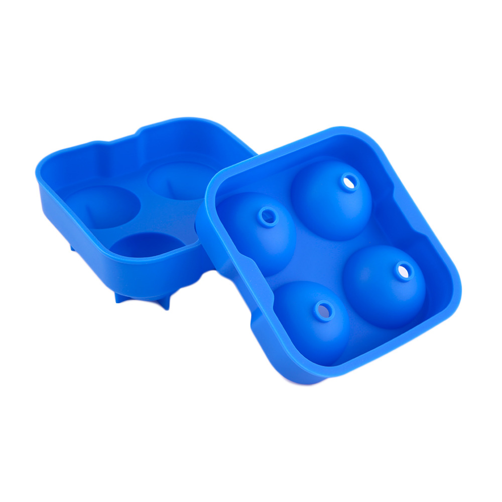 New Hot Silicone Round Shape Ice Balls Maker Tray Large Sphere Molds Whiskey Cocktails With 4 X 4.5cm Capacity Kitchen Tool Toys