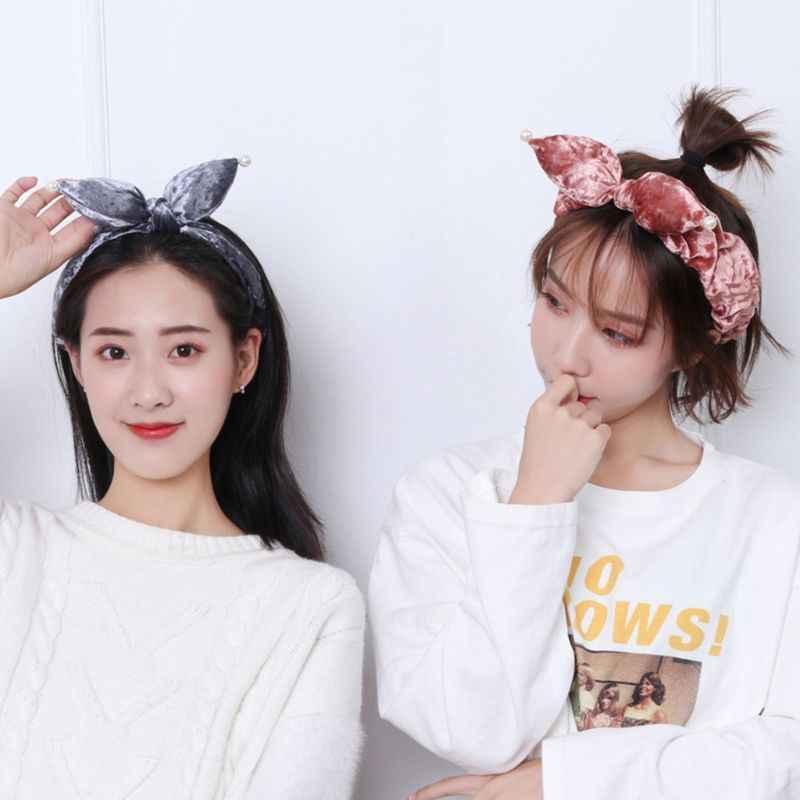 Женская зимняя утепленная бархатная широкая головная повязка для девочек, имитация жемчуга, заостренные уши кролика, повязка для волос, милая одноцветная повязка для волос бант