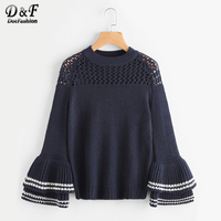 Dotfashion Eyelet Yoke Layered Striped Bell Sleeve Jumper Navy Blue Round Neck Long Sleeve Pullovers Striped Loose Sweater