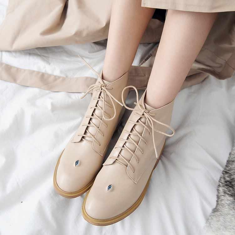 MLJUESE 2018 kadın inek deri yarım çizmeler lace up yuvarlak ayak yüksek topuklu siyah renk sonbahar bahar binici çizmeleri boyutu 33- 43