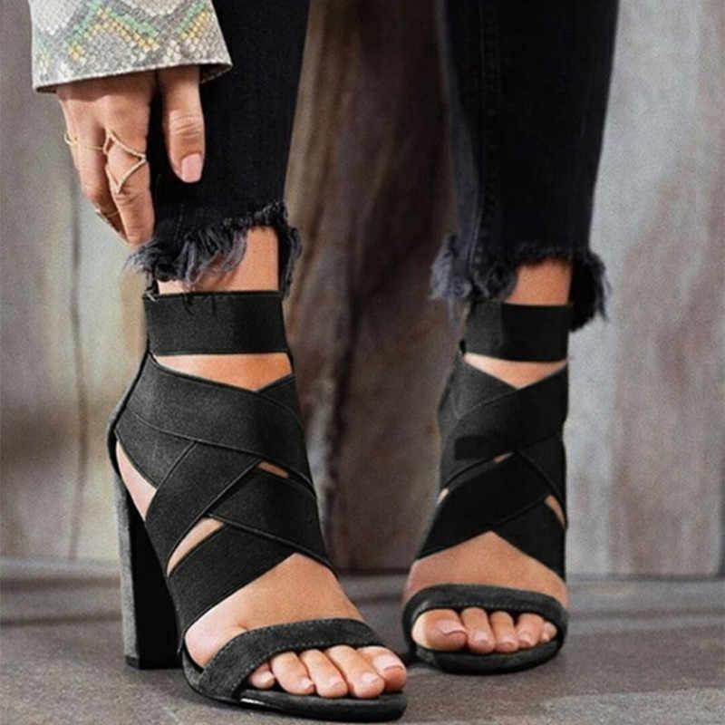 Baru Kedatangan Wanita Pumps Wanita Sandal Cross Perban Sepatu Wanita Sandalias Blok Tumit Pengantin Pernikahan Sepatu Wanita Sepatu