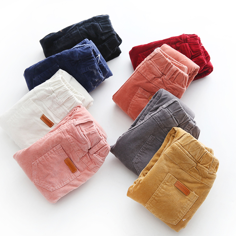 2017 New Autumn Winter Children Warm Pants Boys Girls Corduroy Trousers Kids Elastic Waist Thick Velvet Pants Children's Clothes children autumn and winter warm clothes boys and girls thick cashmere sweaters