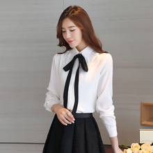 Ladyes Office Work Wear Chiffon Blouses Autumn Long Sleeve Bow Lace-up White Shirt Women Tops Plus Size Slim Blusas Shirts S-XXL