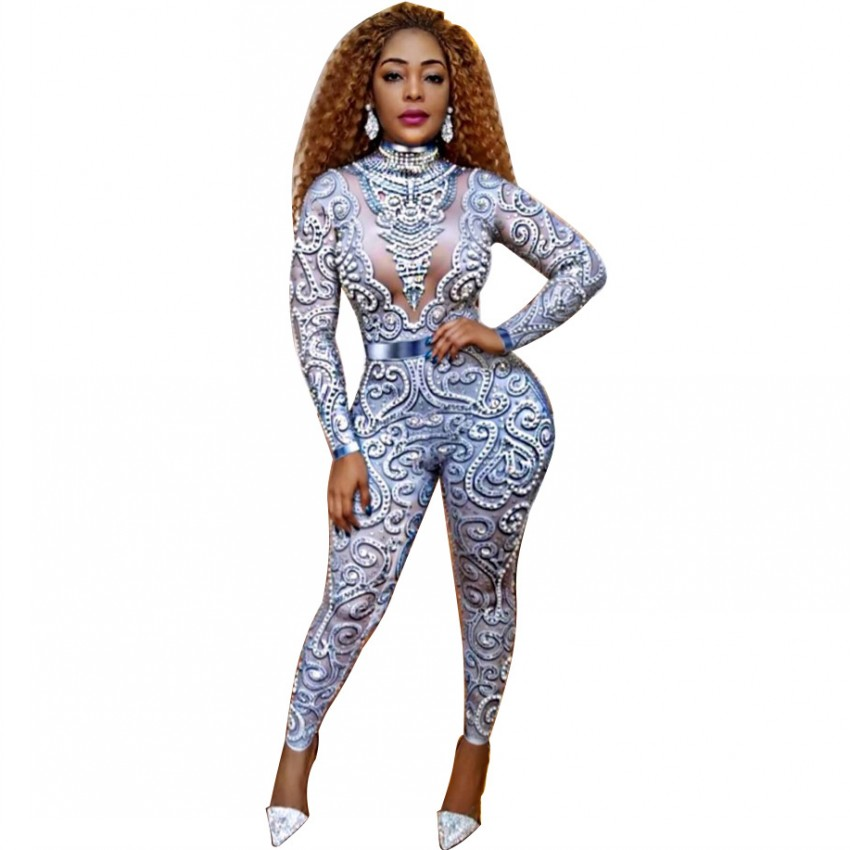 African Jumpsuit For Women Digital Print Long Sleeve Skinny Rompers Jumpsuit Night Sexy Club Overalls Playsui Africa Clothing